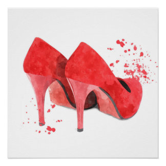Shoes fashion glamour trendy style mode red poster