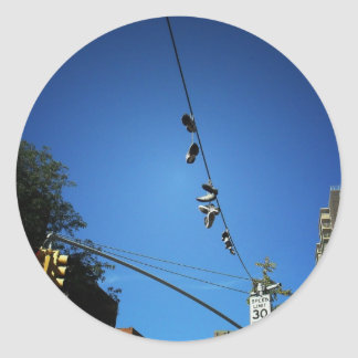 Shoes Hanging from a Power Line in Alphabet City Classic Round Sticker