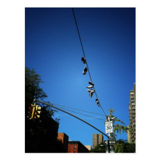Shoes Hanging from a Power Line in Alphabet City Postcard