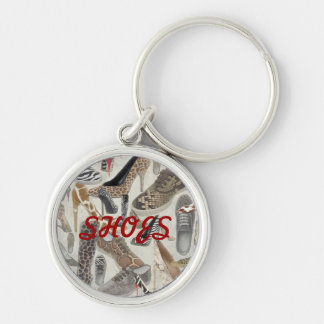 Shoes Keychain, Copyright Karen J Williams Silver-Colored Round Keychain