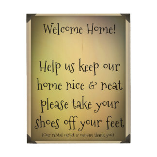 Shoes Off Welcome Sign (Rental Edition)