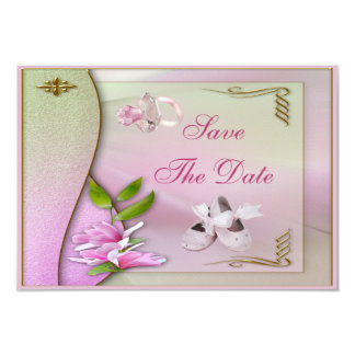 Shoes, Pacifier & Magnolia Save The Date Shower Card