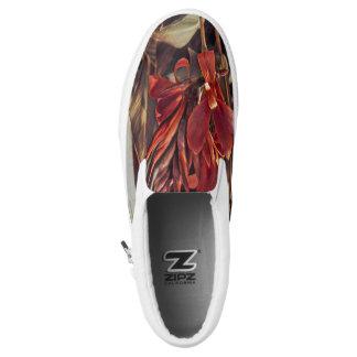 Shoes: Red Folk Art Flowers Slip-On Sneakers