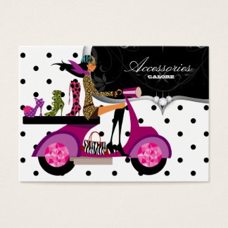 Shoes Scooter Girl Handbag Fashion Dots Business Card