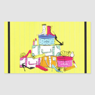 Shoes Shoes Shoes & Luggage Cute Colorful Design Rectangular Sticker