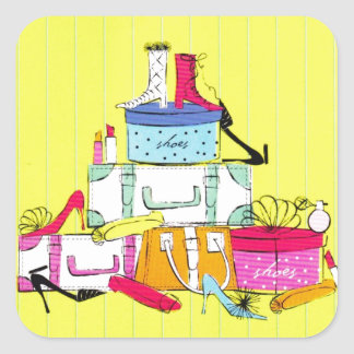 Shoes Shoes Shoes & Luggage Cute Colorful Design Square Sticker