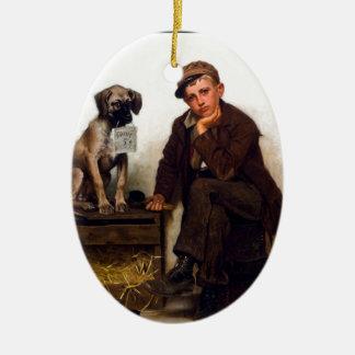 Shoeshine Boy & Dog w/Sign ~ John George Brown Ceramic Ornament
