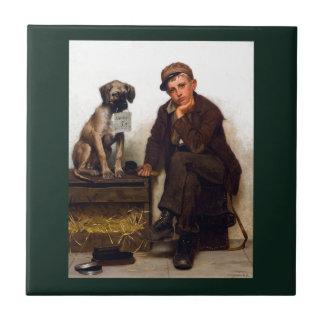 Shoeshine Boy & Dog w/Sign ~ John George Brown Small Square Tile