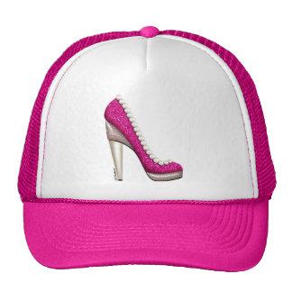 ShoeTease Pink Designer glitter pearl heels Cap Trucker Hat