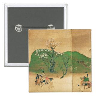 Shogún que viaja en la primavera, período de Edo Pin Cuadrada 5 Cm