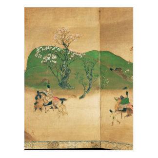 Shogun touring in spring, Edo Period Postcard