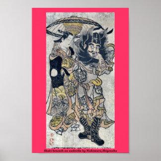 Shoki debajo de un paraguas por Nishimura, Shigeno Poster