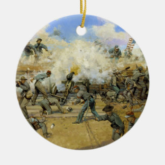 Shoot and Be Dammed by Keith Rocco Double-Sided Ceramic Round Christmas Ornament
