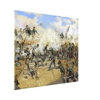 Shoot and Be Dammed by Keith Rocco Fort Gregg Stretched Canvas Print