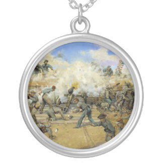 Shoot and Be Dammed by Keith Rocco Round Pendant Necklace