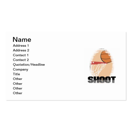 Shoot Basketball T-shirts and Gifts Business Card