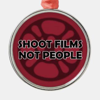 """Shoot Films Not People"" Film Reel Ornament"