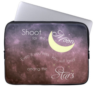 Shoot for the Moon Inspirational Newoprene Laptop Laptop Sleeve