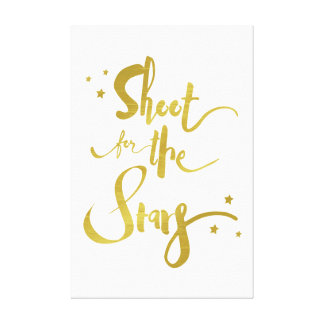 Shoot For The Stars Gold Typography Canvas Print