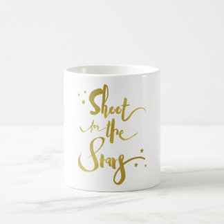 Shoot For The Stars Gold Typography Coffee Mug