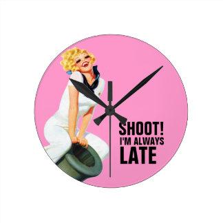 Shoot! I'm Always Late - Retro Wall Clock