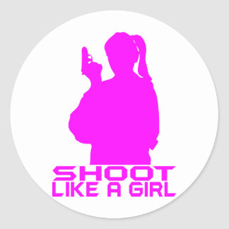SHOOT LIKE A GIRL CLASSIC ROUND STICKER