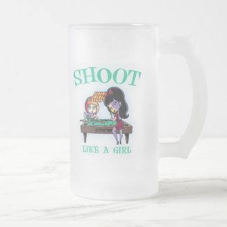 Shoot Like A Girl Frosted Glass Beer Mug