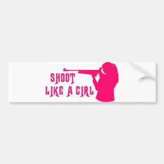 Shoot Like a Girl Pink Bumper Sticker