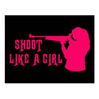 Shoot Like a Girl Pink Postcard
