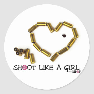 Shoot Like A Girl Round Stickers