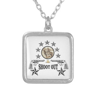 shoot out western art silver plated necklace