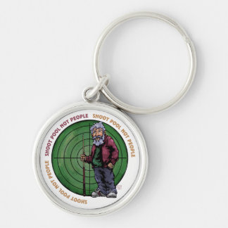 Shoot Pool Not People Silver-Colored Round Keychain
