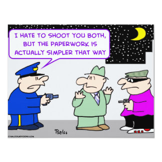 "shoot simpler cop mugger 4.25"" x 5.5"" invitation card"