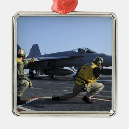 Shooters aboard the USS George HW Bush Square Metal Christmas Ornament