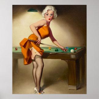 Shooting Billiards Pin Up Art Poster