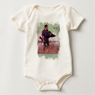 Shooting birds on the marshes baby bodysuit