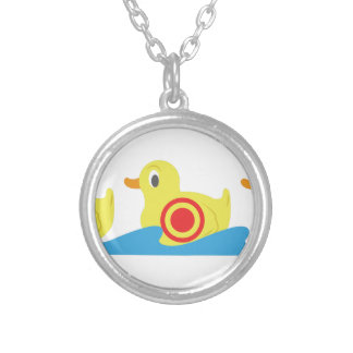 Shooting Gallery Ducks Round Pendant Necklace