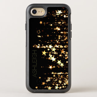 Shooting Gold Stars on Black Personalized OtterBox Symmetry iPhone 7 Case