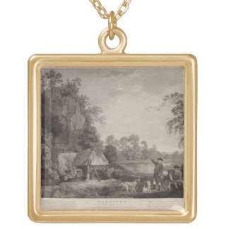 Shooting, plate 1, engraved by William Woollett (1 Square Pendant Necklace