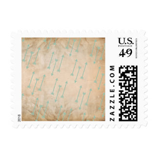 Shooting Seafoam Teal Arrows Tribal Grunge Texture Postage Stamp