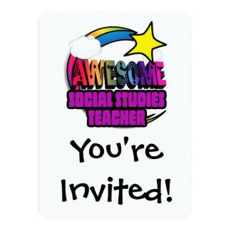 Shooting Star  Awesome Social Studies Teacher 5.5x7.5 Paper Invitation Card