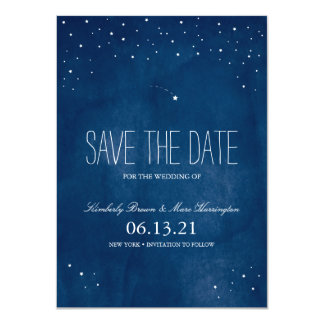 Shooting Star Blue Watercolor | Save the Date Card