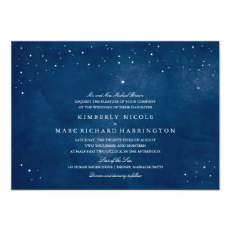 Shooting Star Blue Watercolor Wedding Card
