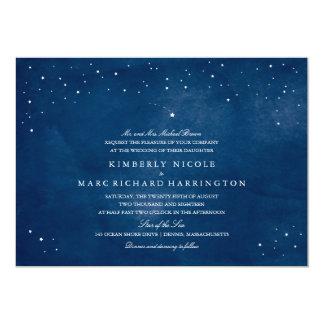 Shooting Star Blue Watercolor Wedding Card