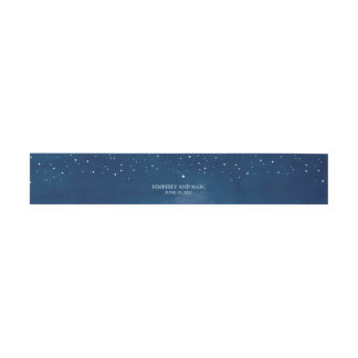 Shooting Star Blue Watercolor Wedding Invitation Belly Band