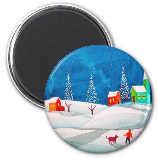 Shooting star folk naive art winter snow scene 2 inch round magnet