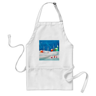 Shooting star folk naive art winter snow scene adult apron