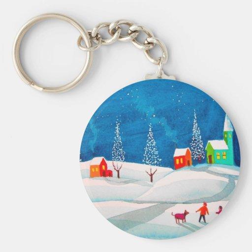 Shooting star folk naive art winter snow scene basic round button keychain