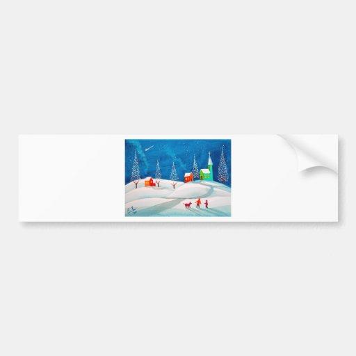 Shooting star folk naive art winter snow scene car bumper sticker