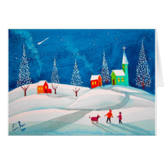 Shooting star folk naive art winter snow scene card